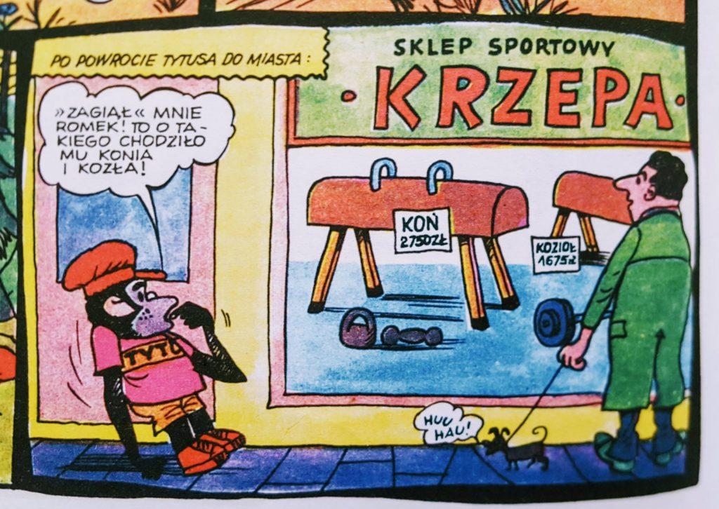 Kardr z komiksu z nazwą Sklepu Sportowego Krzepa wraz z Tytusem.