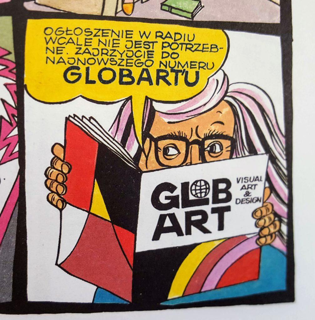 """Papcio Chmiel z czasopismem """"Glob Art"""" w ręku (kadr z komiksu)."""