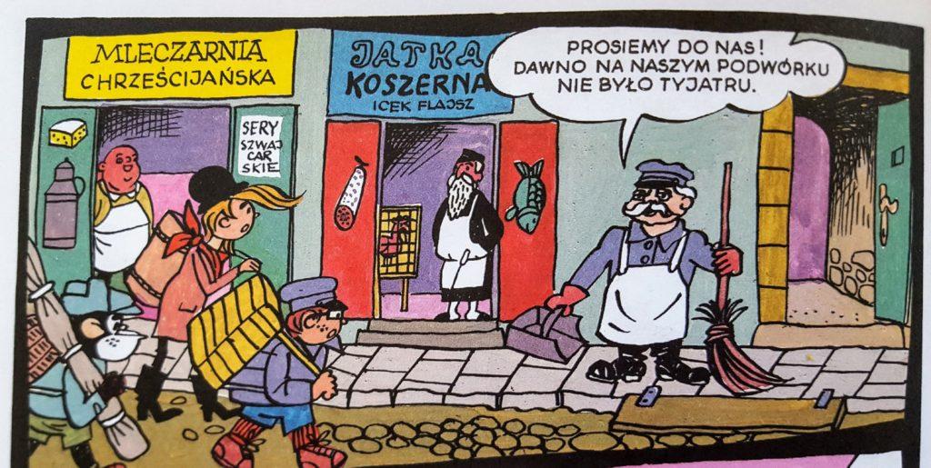 Scenka rodzajowa z Tytusem, Romkiem i A'Tomkiem w przedwojennej Polsce z szyldami sklepowymi (kadr z komiksu).