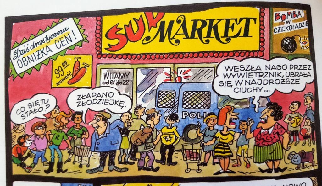 """Tłum ludzi przed sklepem """"Sup Market"""" (kadr z komiksu)."""