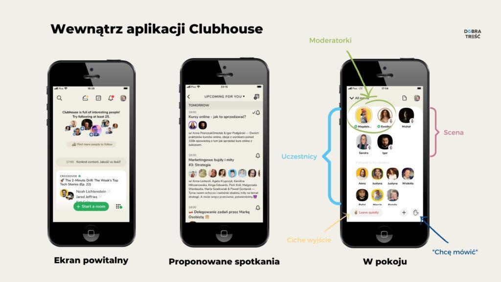 Czy warto być w Clubhouse - screeny z aplikacji.